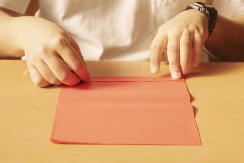色紙を複数重ねて折る