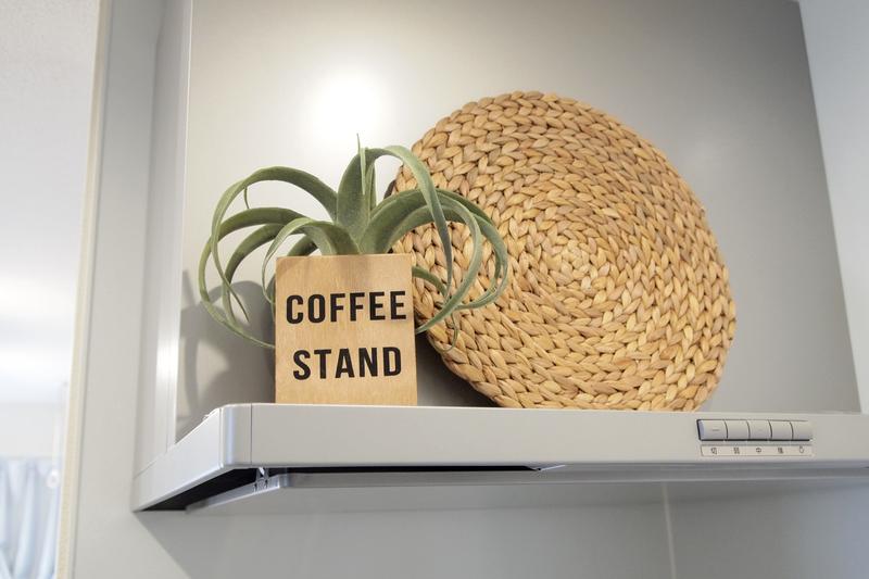 コーヒーを入れる容器に観賞植物を入れたアイデアインテリア