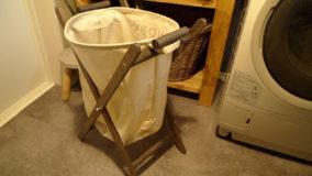 ダイソーのランドリーバッグもシンデレラフィットなランドリーラック-Laundry rack DIY