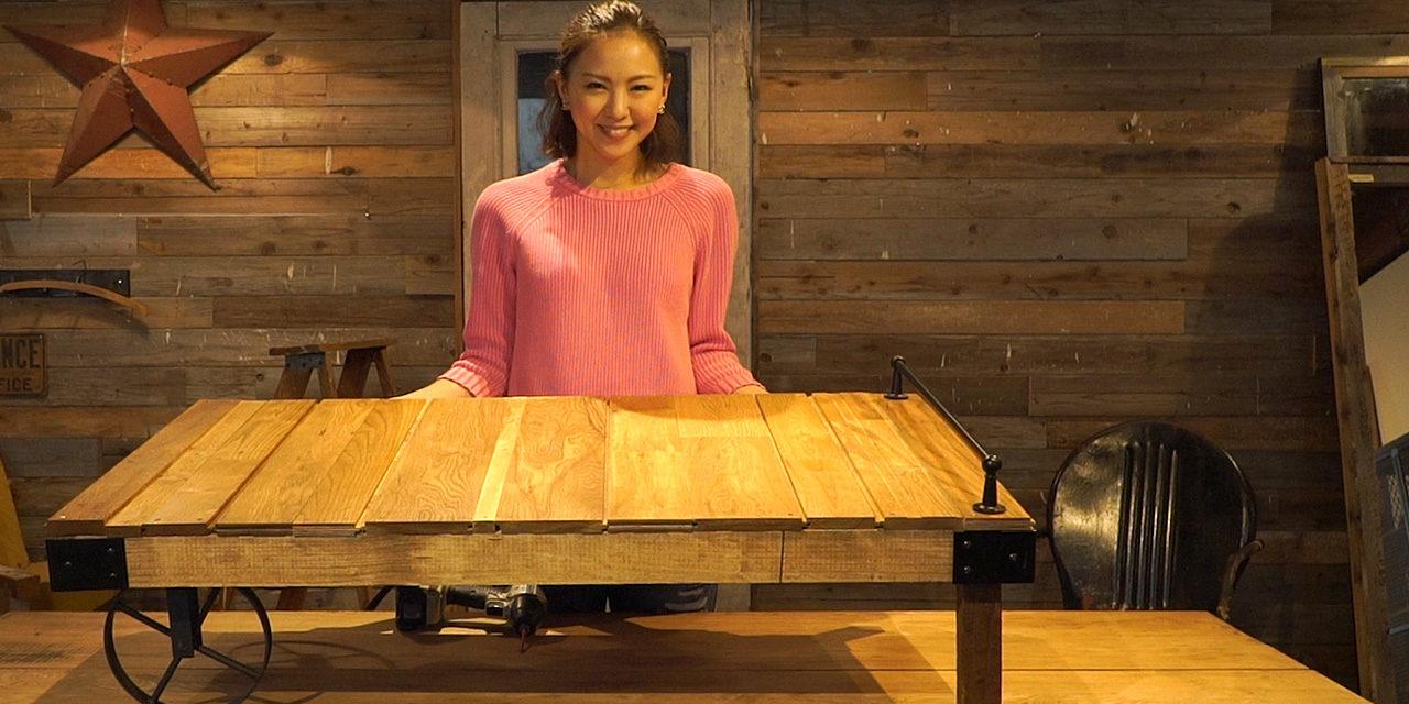 西内ひろさんが作る、廃材を使った車輪付きローテーブル【図面付き】-Cast iron wheel table DIY