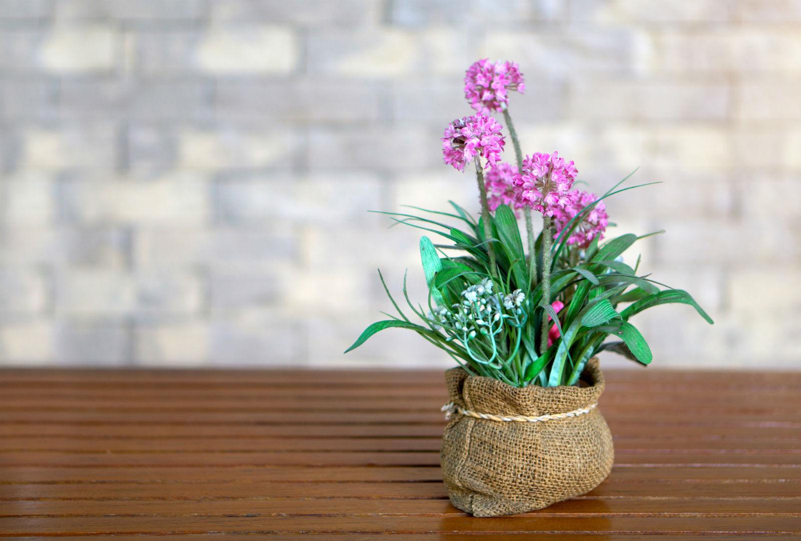 麻袋にピンクの花が生けられているイメージ。