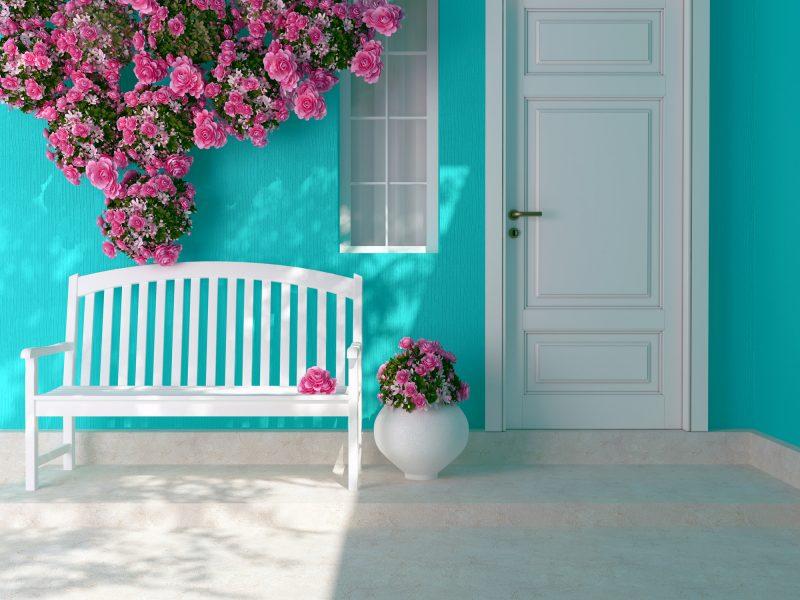 玄関の印象を明るくするお花
