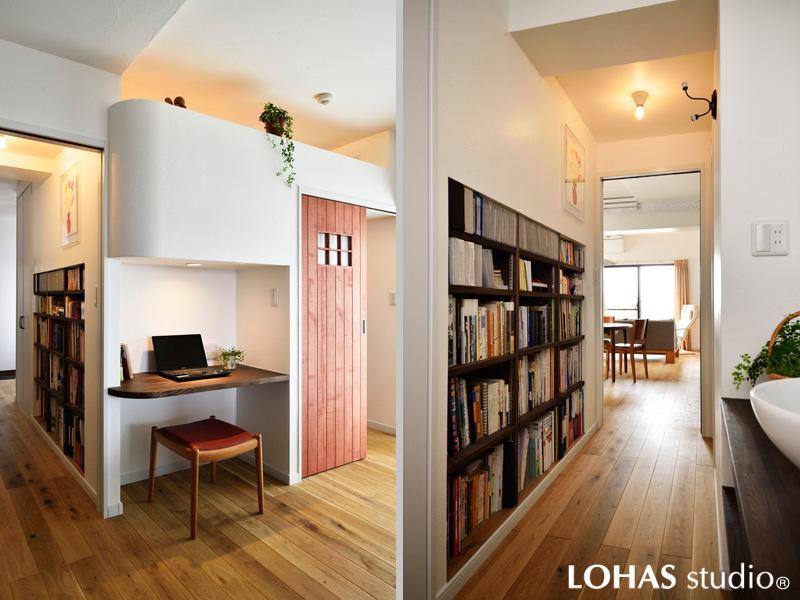 廊下の壁を本棚にリノベーション