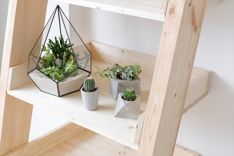 棚の一つを植物用にしてもオシャレです