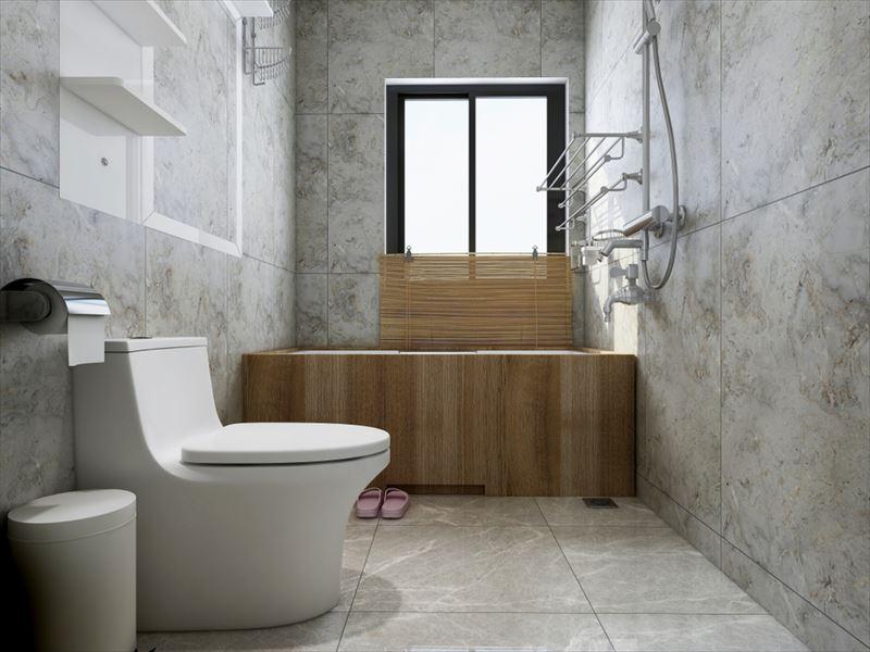 落ち着いた壁紙とトイレの空間