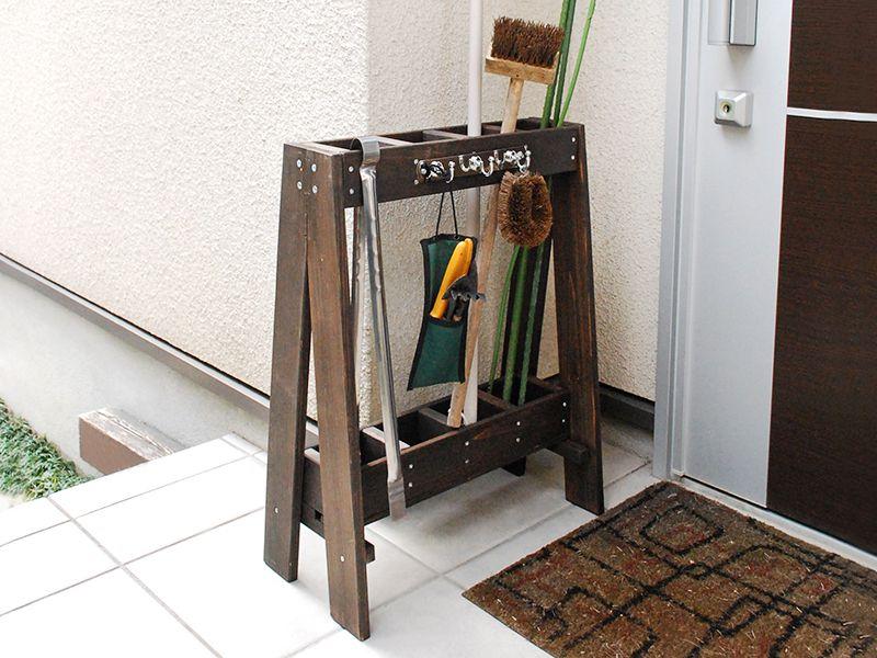 木目調のツールスタンド