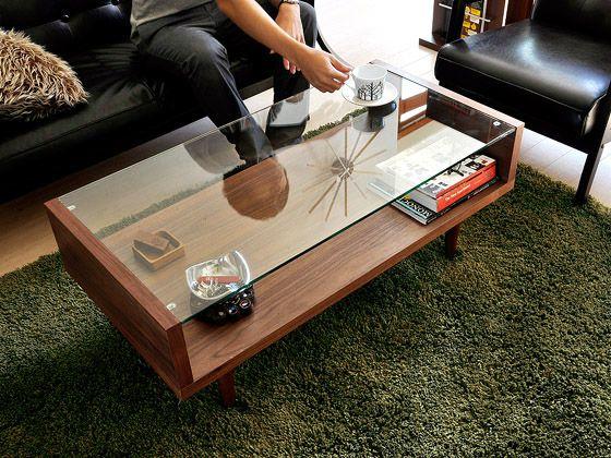 テーブルの表面がガラス面の収納テーブル