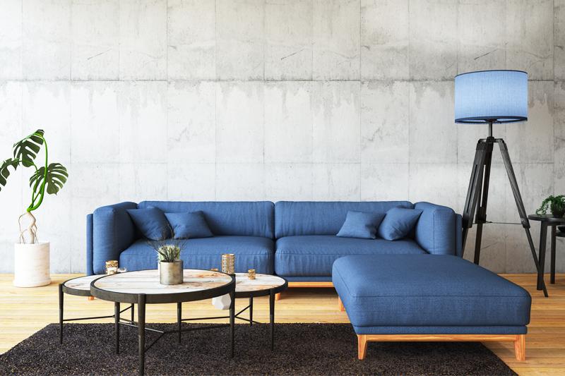 大人っぽいブルーのソファ