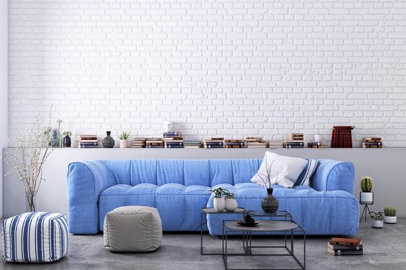 ブルー×グレーのクールでモダンな部屋