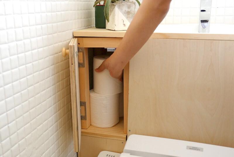 トイレットペーパーの収納もできます