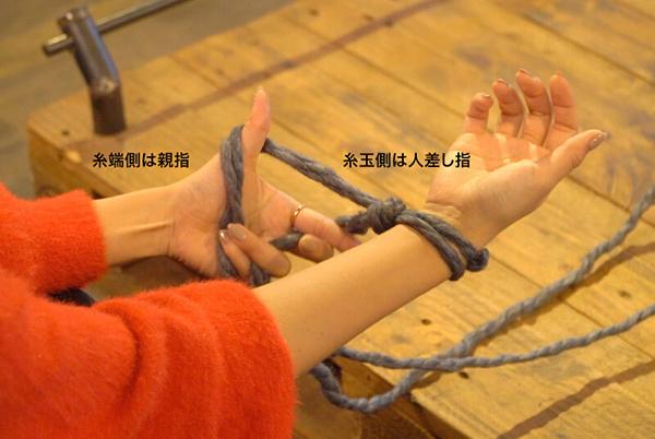糸玉側の糸を左手の人差し指に、親指に糸端側をかける