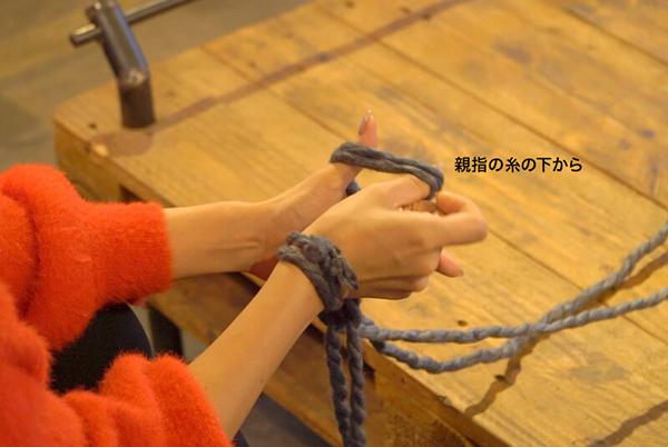 左手の親指の手前にある糸を引きながら