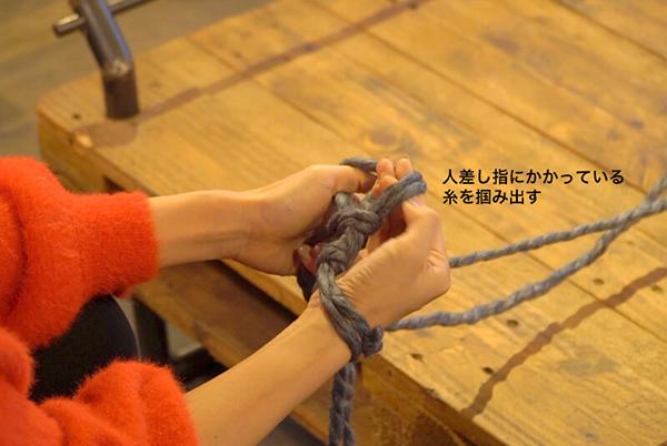 左手の人差し指にかかっている糸を掴み出す