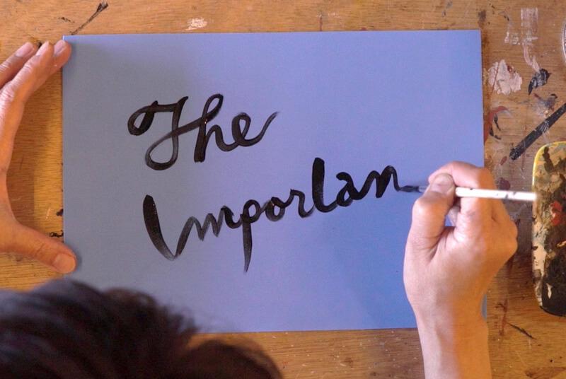 スポンジに字を描く