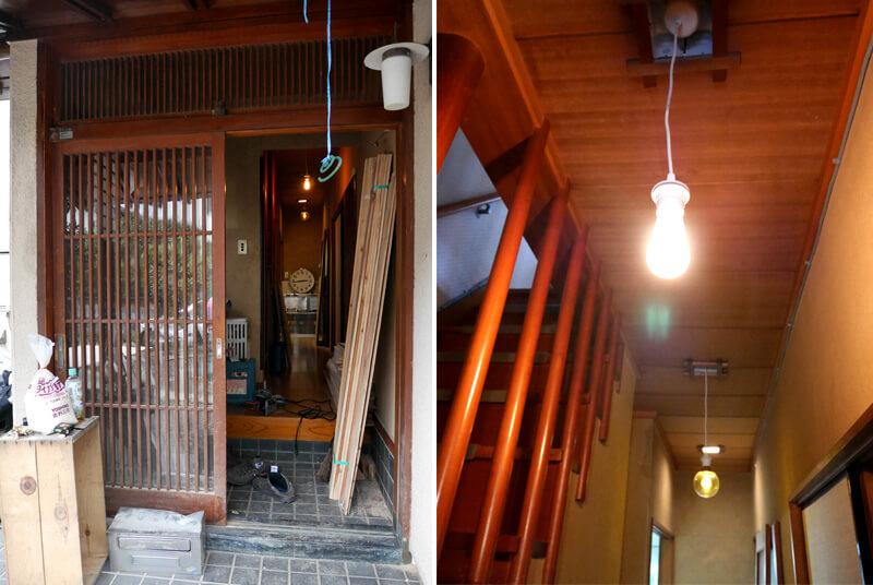 古風な玄関に昭和な雰囲気漂う廊下