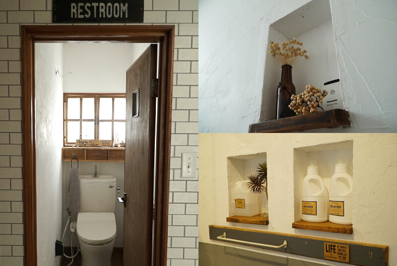 写真右上がトイレ、右下が洗面スペースに作られたニッチ