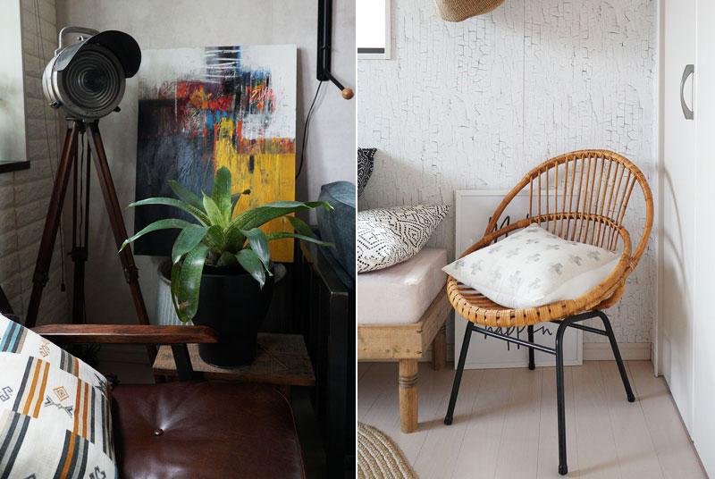 (左)海外から取り寄せた雑貨と、インポートの絵画(国内購入)をコーディネート (右)フランス産のアンティークチェア