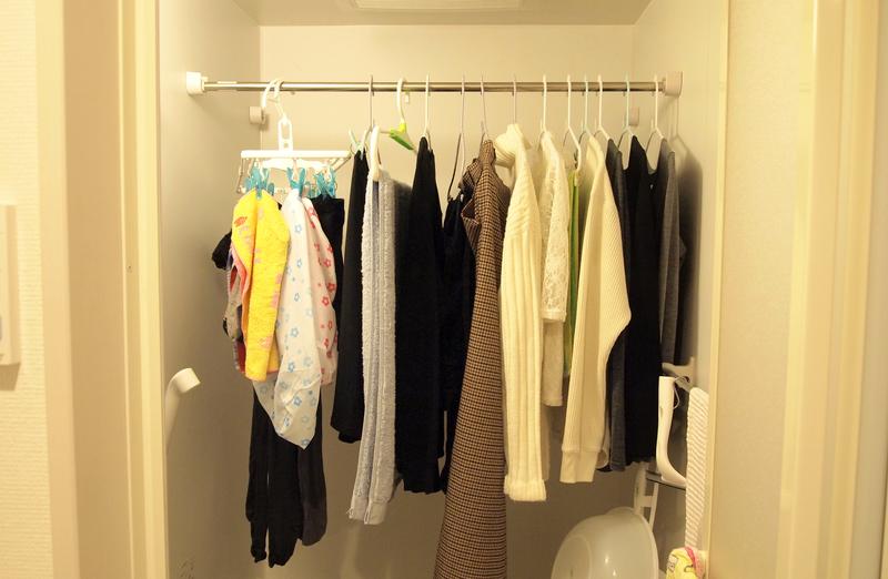 浴室内で洗濯物干し