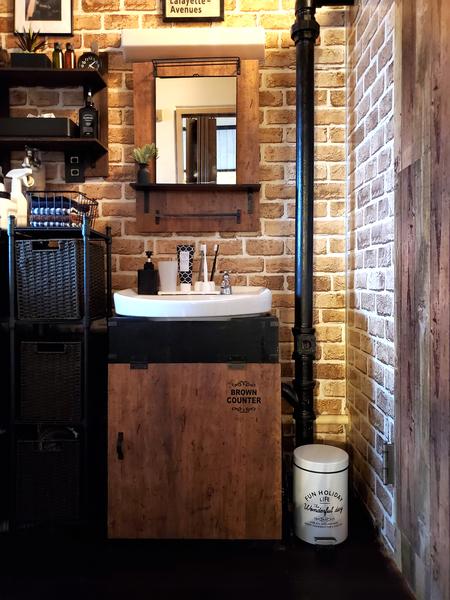 洗面所下の棚と鏡をDIY