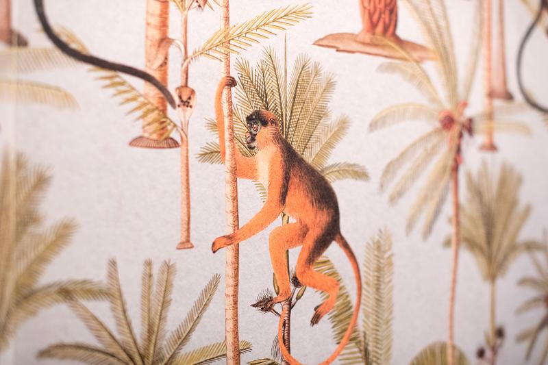 お猿と植物柄の壁紙