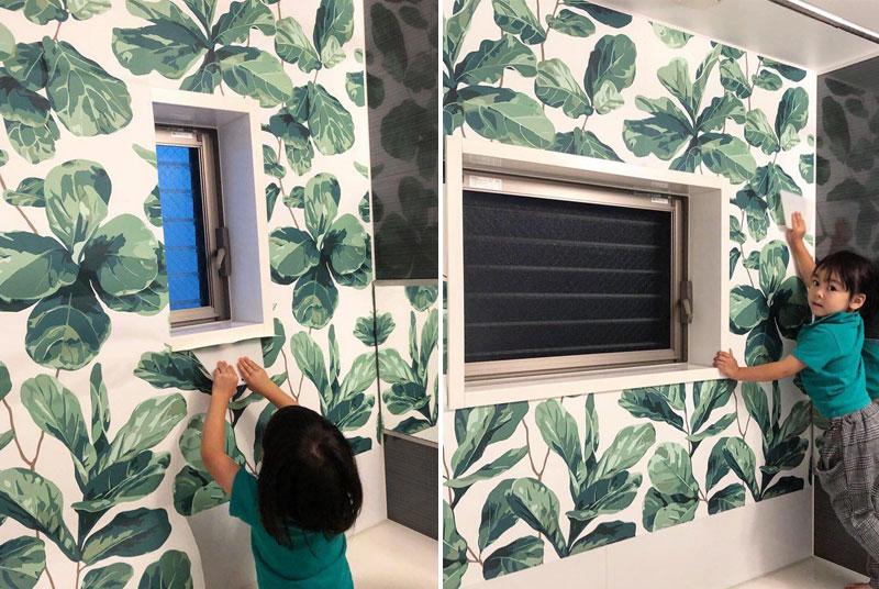 植物の壁紙と子ども