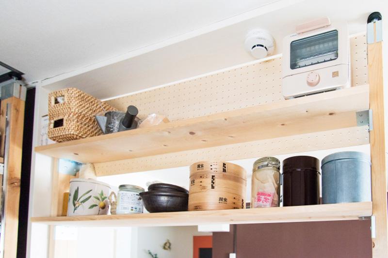 有孔ボードを使ったキッチン収納