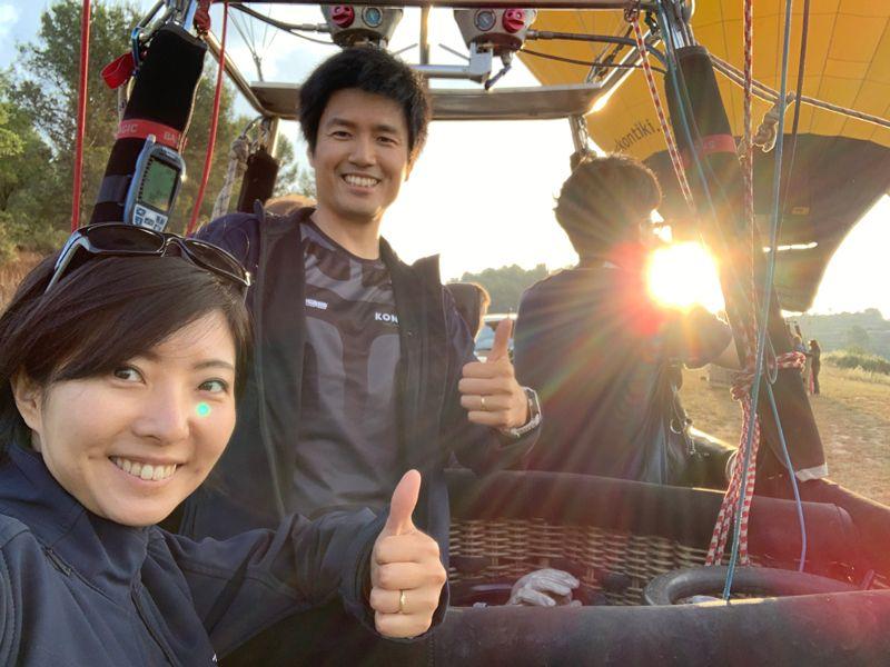 熱気球と藤田さんご夫婦