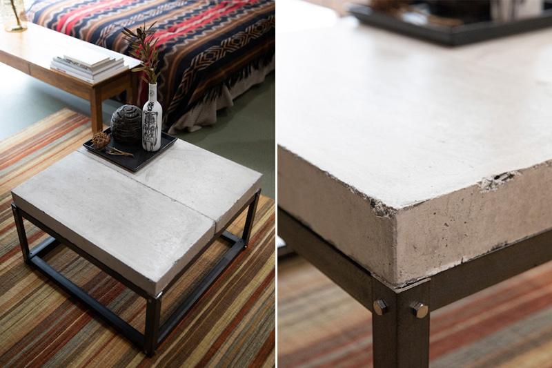 DIYしたコンクリートブロックテーブル