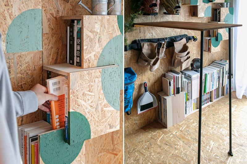 DIYの壁面本棚とスタンディングデスク