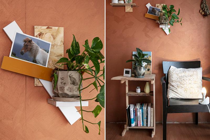 自作のコラージュとサイドテーブル