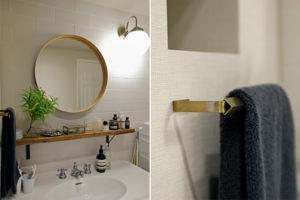 ホテルライクな丸鏡と真鍮ハンガー