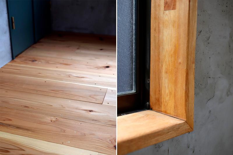 窓枠と床は塗料を揃えて統一感を