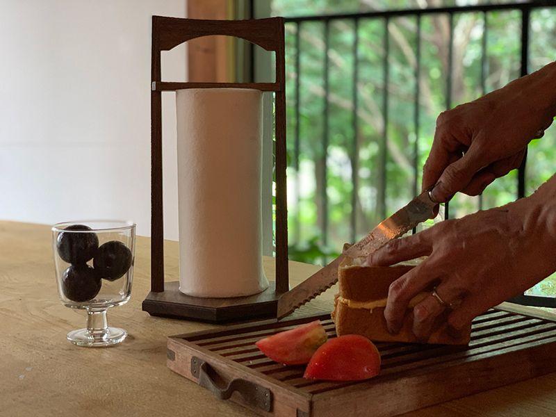 デザインを起こして手作りしたキッチンペーパーホルダー